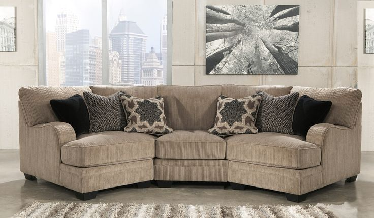 katisha fabric 3piece sectional sofa with left cuddler armless chair right cuddler and accent pillows included in platinum color