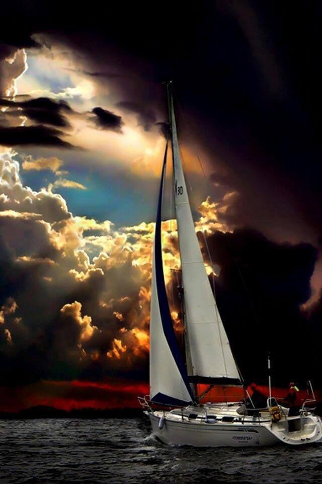 ♂ Yacht sun colorful cloud ocean