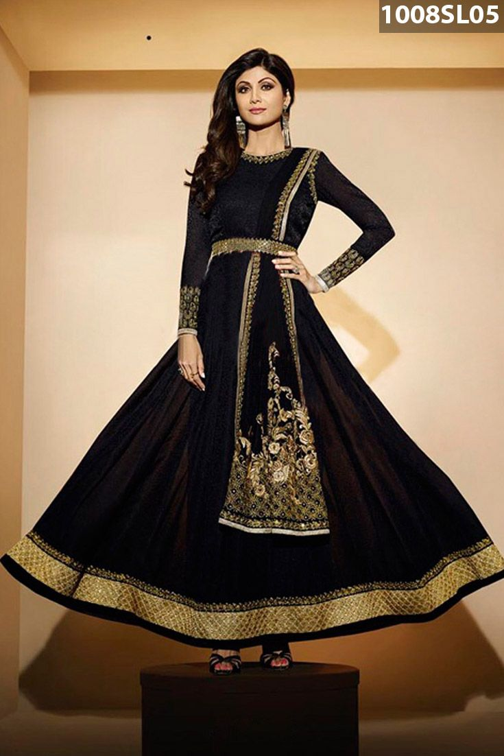 #Black georgette #jacquard #anarkali #kameez adorned with sequins, dori, zari, resham embroidery and patch border work. Black crape churidar and black chiffon dupatta are available with this.
