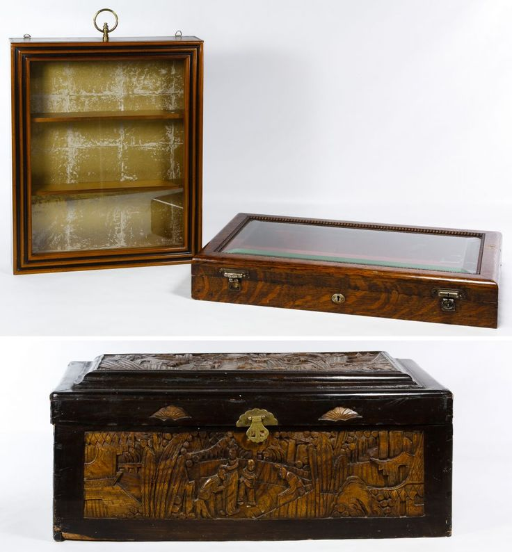 Lot 103: Carved Asian Chest; Together with a wall display case and counter display case with beveled glass top; counter display case has keys