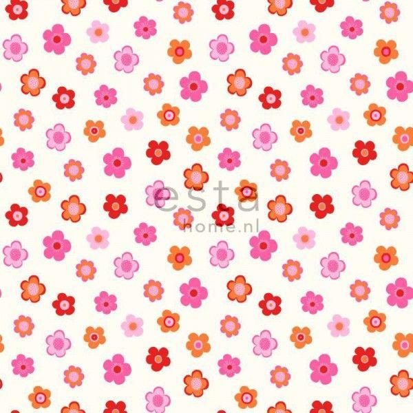 HD vliesbehang vintage bloemetjes roze, koraal en oranje - behang   ESTAhome.nl
