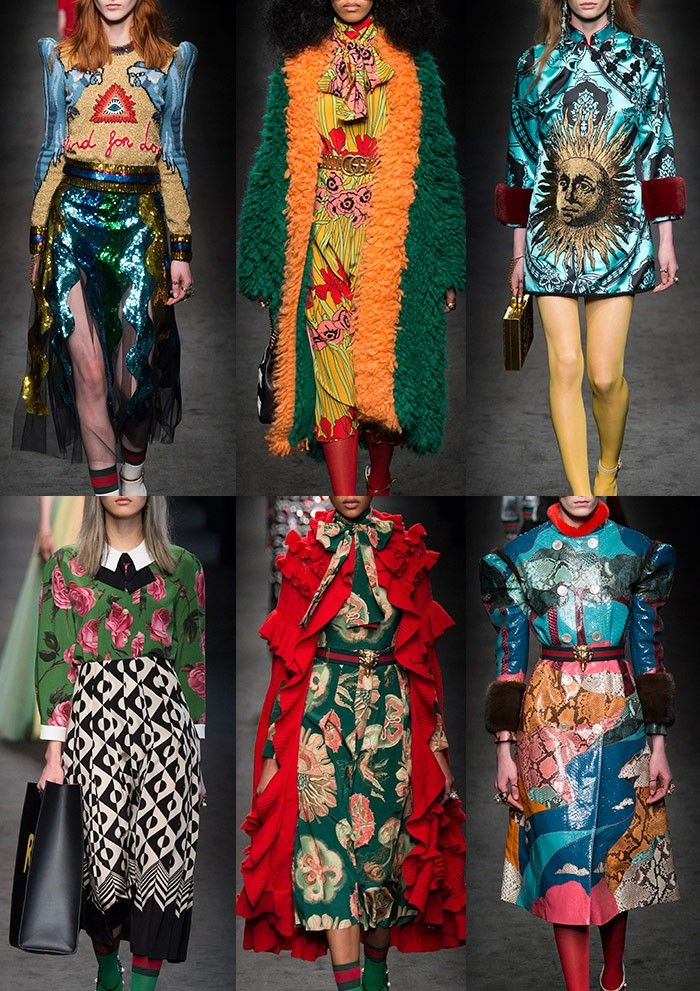 GUCCI | Skin Landscapes – Arty Florals – Bold Optical Prints – Fur Trims – Allover Sequin Embellishments – Traditional Rose Patterns – 70's Florals – Oriental & Fornasetti  Combinations | MILAN | http://vogue.co.uk