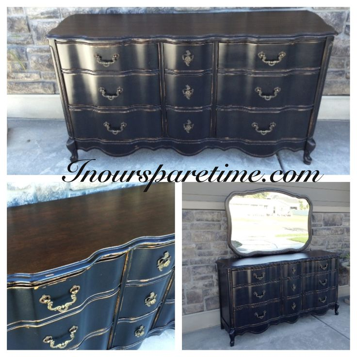 Stunning Solid Wood Basset French Provincial Dresser With Mirror Black With A Dark Walnut Wood