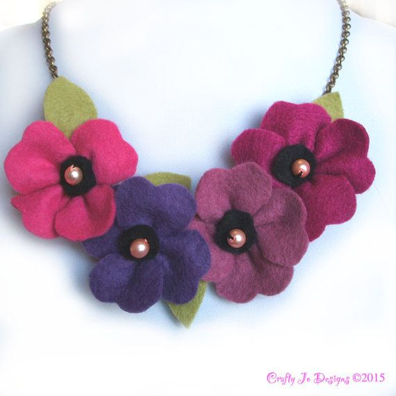 Purple Statement Necklace Poppy Necklace Pink by CraftyJoDesigns