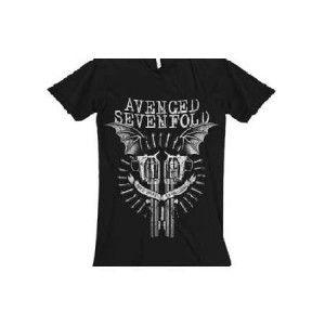 Avenged Sevenfold Black Bat Guns Mens Tee - Show your support in this Avenged Sevenfold Black Bat Guns Mens T-Shirt, perfect for every Gunslinger.