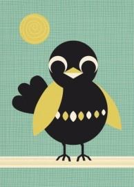 Postcard Vogel/ mooi lettertype logo