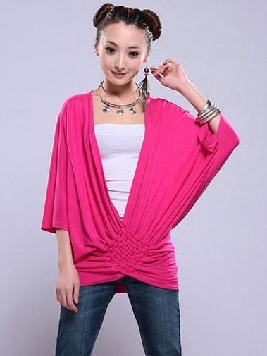 Nextwholesale.com…..new arrival…the most popular #clothing in #China,   #shirt,#dress,#pant,#tops  #Wholesale deep V-neck woven bat shirt