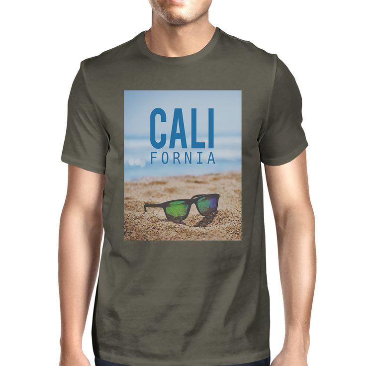 California Beach Sunglasses Real Photo Mens Crewneck Summer Tee