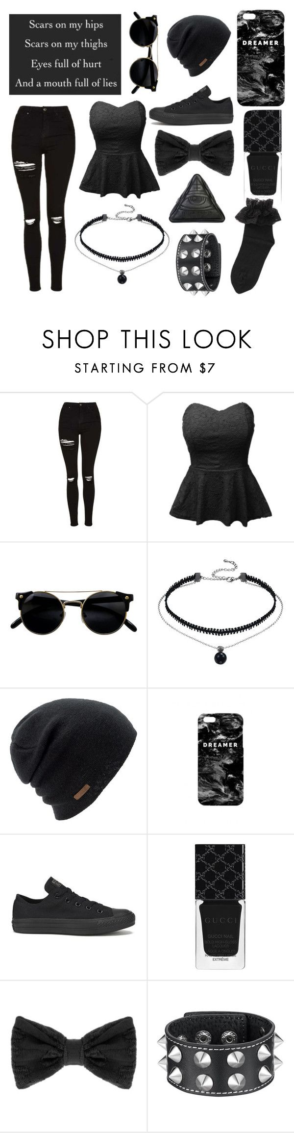 """Untitled #416"" by emo-sweetheart ❤ liked on Polyvore featuring Topshop, LE3NO, Coal, Mr. Gugu & Miss Go, Converse, Gucci, Pieces and Disturbia"