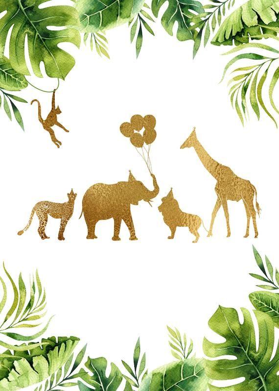 jungle birthday invitation  gold safari birthday
