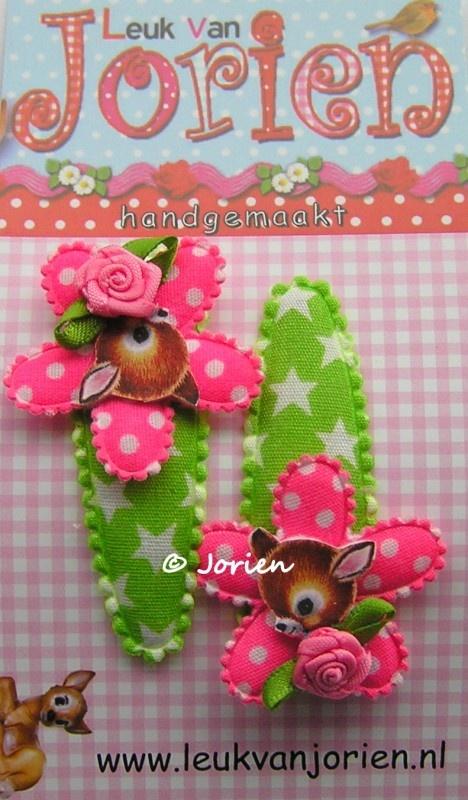 haarknipjes hertje roze groen ster
