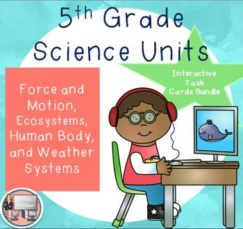 5th Grade Science Units Bundle- Force and Motion, Human Body Systems, Weather Systems, Ecosystems. Perfect for unit-long research projects, extra credit, as your computer station, or as a teaching resource. Check out the preview for a free sample. $