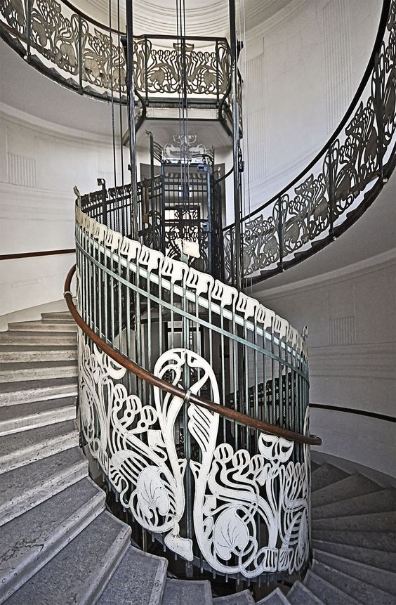 Staircase in a building in Vienna designed by Otto Wagner