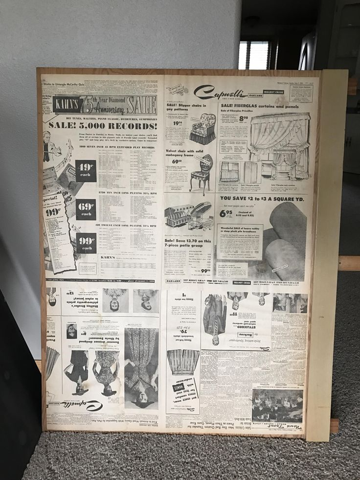 This Oakland Tribune newspaper from May 2 1954 found behind a dresser mirror.