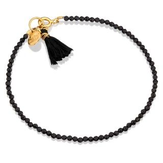 Malutkie onyksy z czarnym chwościkiem. #bracelet #mokobelle #tassel #bransoletka #summer #fashion #collection #jewelry #jewellery #accessories #gold #romantic #lato #black