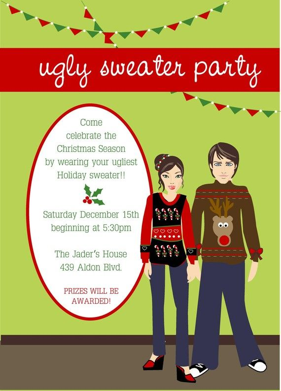Ugly Sweater Christmas Party Invitation Ugly Christmas Sweater