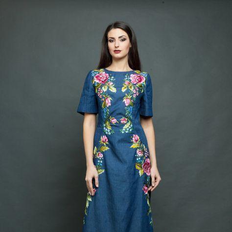 Dril de algodón maxi vestido suelto Vestido de verano vestido