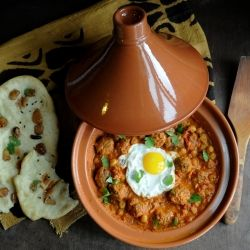 Moroccan lamb meatball tagine in a flavorful tomato sauce, with ...