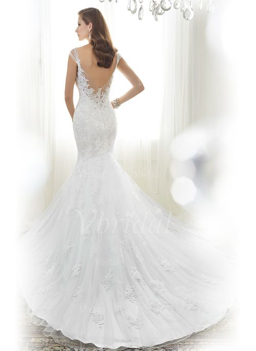 Wedding Dresses - $253.00 - Trumpet/Mermaid Sweetheart Cathedral Train Tulle Lace Wedding Dress With Beading Appliques Lace (00205003570)