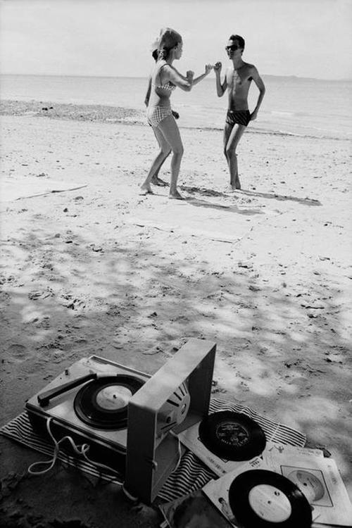 Dancing to vinyl on the beach. #vintage #photograph dstele.com