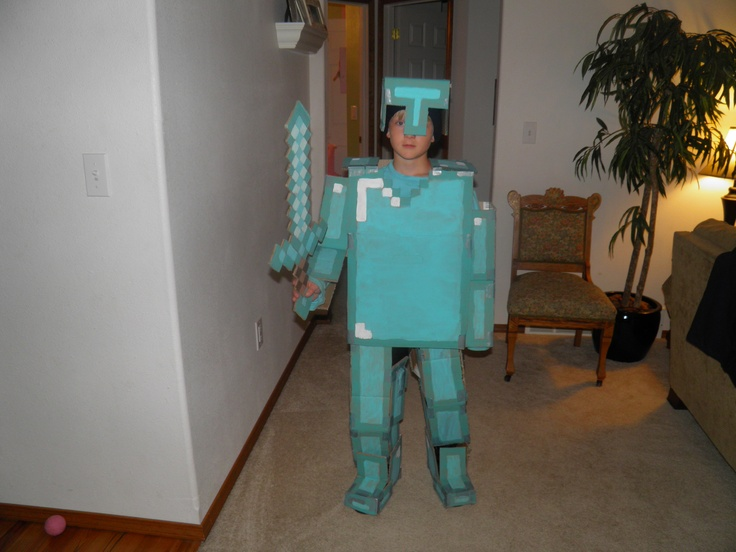 Diamond Armor Steve From Minecraft Made Out Of Cardboard