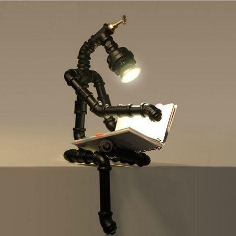 Lustre Industrial Retrô Loft Robô Candeeiro De Mesa De Iluminação Luz De Leitura Para Casa