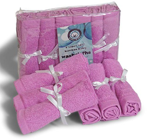 Dinky Ninky Washcloths All Natural Cleaning Wipes Reusable Soft Organic Cotton Bamboo Towels NonAllergic Gentle for Eczema Absorbent Baby Shower Ideas Best Mom Gift in Pink Blue or White 6 Piece -- For more information, visit image link.