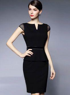 Black Lace Patch de vestido magro