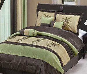 7pc Hawaii Embroidery Palm Tree Faux Silk Comforter King Size Bed In A Bag