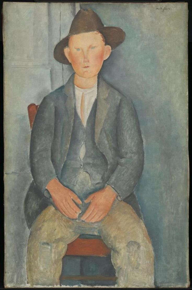 Amedeo Modigliani, The Little Peasant, circa 1918.  Oil on canvas, support: 1000 x 645 mm.  frame: 1155 x 810 x 65 mm.  Presented by Miss Jenny Blaker in memory of Hugh Blaker 1941.