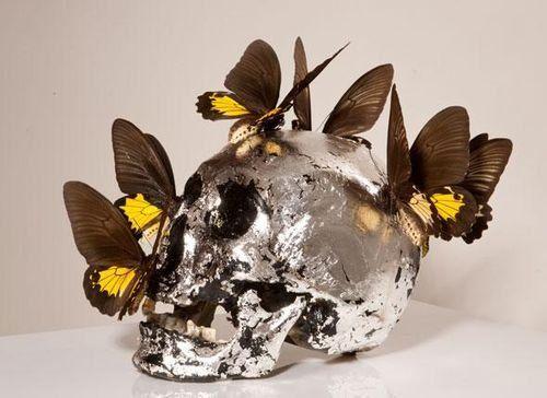 Philippe Pasqua: Crâne aux papillons. //Decay vs. beauty.