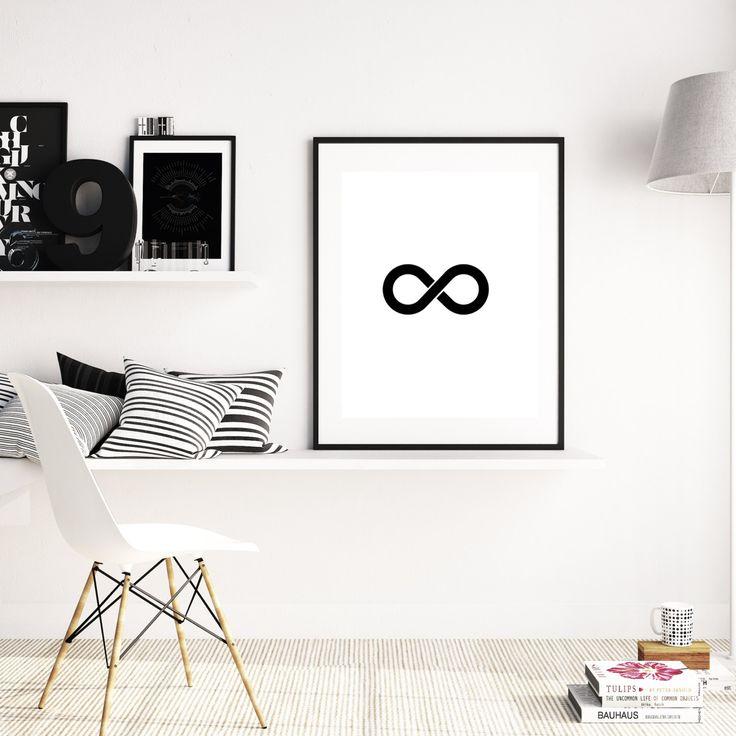 Black Infinity Print, Infinity Poster, Infinity Art, Infinity, Printable Art, Digital Print Art, Digital print, Monochrome Infinity