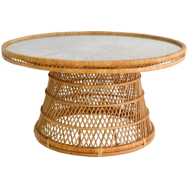 Mid-Century Woven Rattan Coffee Table/Cocktail Table | From a unique collection of antique and modern coffee and cocktail tables at https://www.1stdibs.com/furniture/tables/coffee-tables-cocktail-tables/