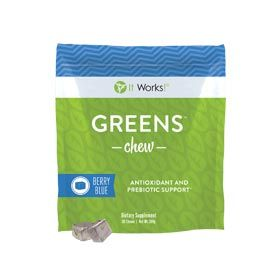 Greens™ Chew | It Works - Snack your way to better health with a deliciously sweet blend of fruits and veggies in a super soft chew.  With a nutritional boost of prebiotic fiber, support for healthy blood pressure levels, and the antioxidant strength of 20 cartons of blueberries in every serving, Greens Chew packs a powerful punch to support your overall health and wellbeing.