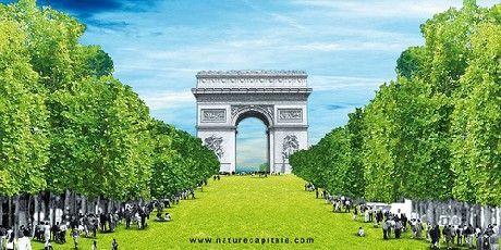 """Nature Capitale : les Champs-Elysées se mettent au vert : Du 22 au 24 mai 2010, les Champs-Elysées s'habilleront de verdure à l'occasion de la Journée Mondiale de la Biodiversité. Cette œuvre intitulée """"Nature Capitale"""" est une création de Gad Weil, réalisée avec la complicité de Laurence Medioni, des Jeunes Agriculteurs et de France Bois Forêt."""