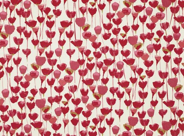 Tulipa Red Coral   Tulipa   Cotone rasato stampato   Romo Fabrics   Tessuti e carte da parati dal design esclusivo, Tessuti per tappezzeria
