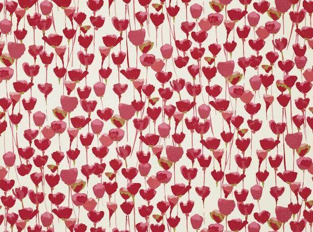 Tulipa Red Coral | Tulipa | Cotone rasato stampato | Romo Fabrics | Tessuti e carte da parati dal design esclusivo, Tessuti per tappezzeria