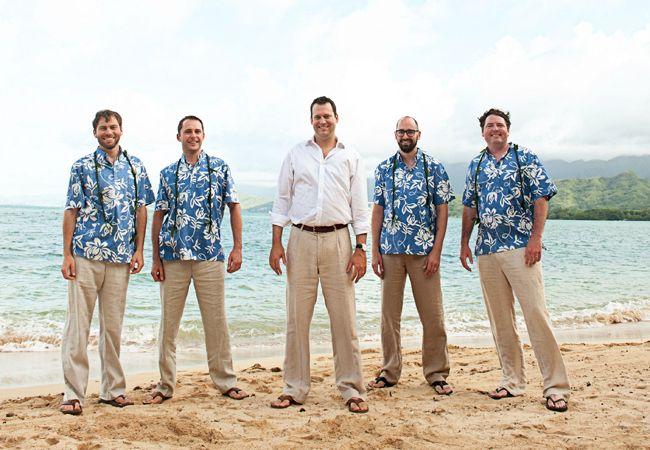 Groomsmen in Hawaiian Shirts | Rachel Robertson Photography | blog.theknot.com