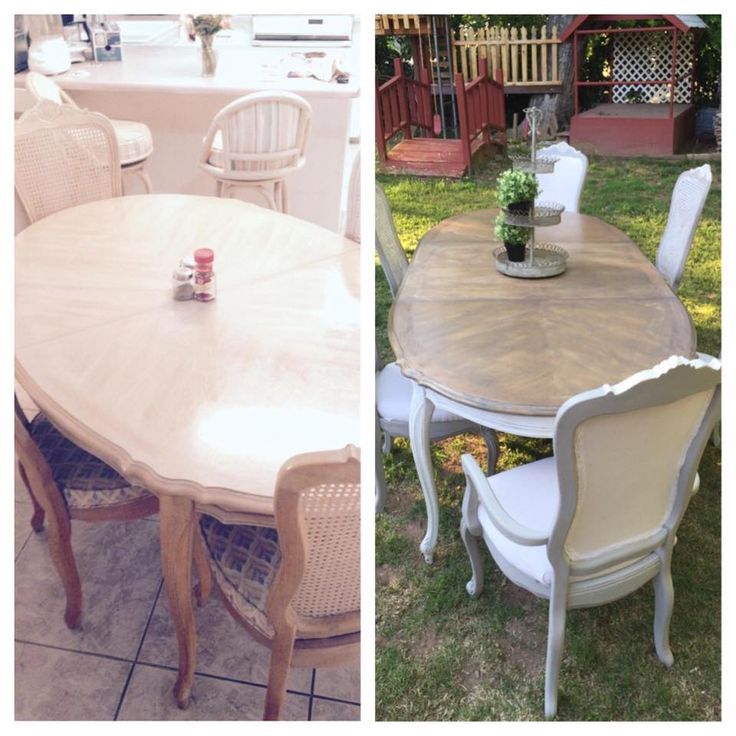French Provincial Dining Set before and after. Upholstered Captains cane back chairs. French gray and white chairs with brown glaze. Provincial and Classic Gray Minxwax stain on Table.