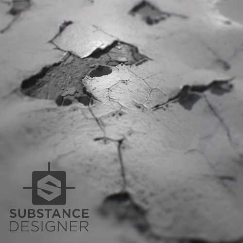 [Substance Designer] - Cracked Paint + Breakdown, Thomas Van Nuffel on ArtStation at https://www.artstation.com/artwork/05ZR5