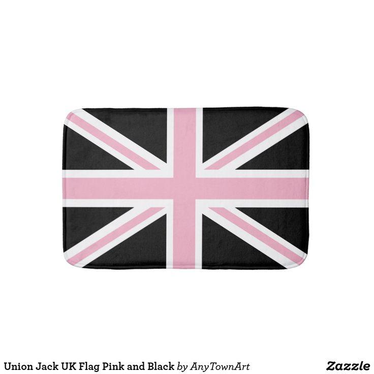 Union Jack UK Flag Pink and Black Bath Mat