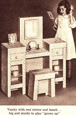 Vanity Set  Price: $3.33  Description Little Girls Vanity Set just like mother's with mirror, drawers and shelves.