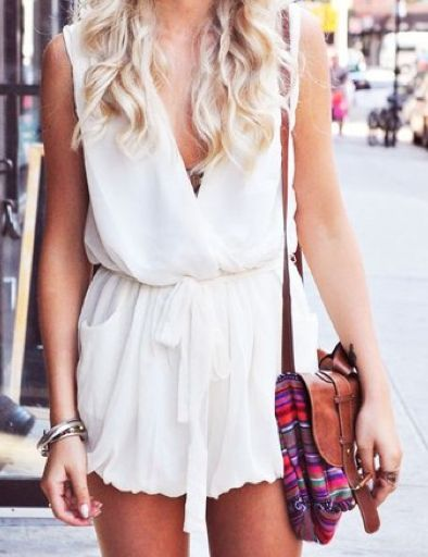 White slouchy romper