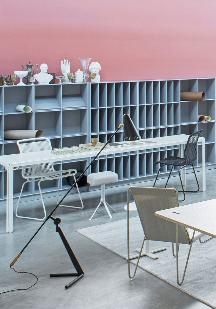 Montana at Orgatec showing the office spaces of tomorrow. Arne Jacobsen Djob table, Guest chair, Panton Bachelor lounge chair and the iconic shelving system. #montanafurniture #montana #furniture #danish #design #scandinavian #interior #office #space