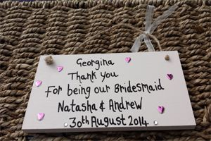 cream Flowergirl Personalised Thank You Gift Plaque