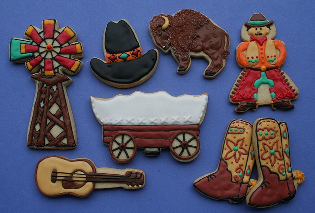Western Cookies--windmill, cowboy, boots, guitar, hat, buffalo/bison, covered wagon.