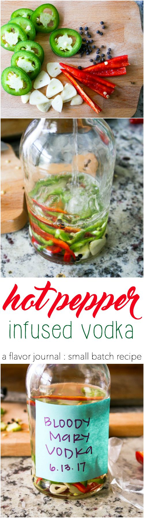 spicy peppers, garlic, and black peppercorns are infused into vodka to create a killer hot pepper infused vodka that's perfect for bloody mary cocktails!   hot pepper infused vodka http://aflavorjournal.com/hot-pepper-infused-vodka/