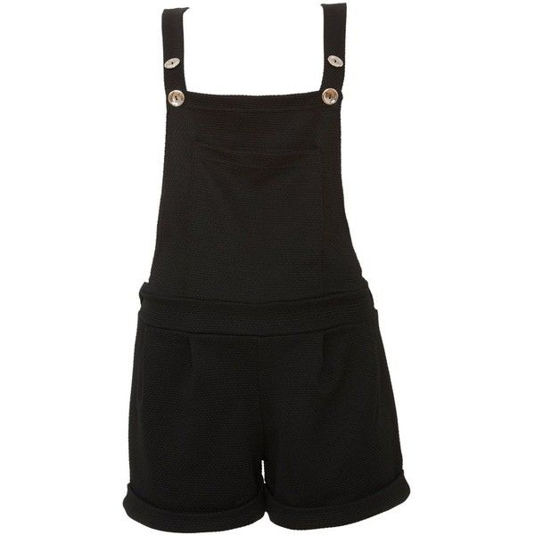 Cameo Rose Black Textured Waffle Short Dungarees (40 BRL) ❤ liked on Polyvore featuring jumpsuits, rompers, shorts, dresses, pants, black short romper, playsuit romper, black romper, black short rompers and black rompers