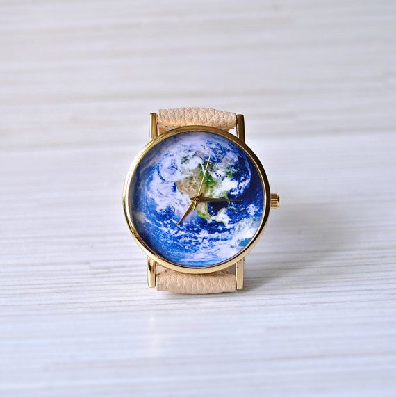 Earth watch. Travel Map. Travel jewelry. Travel Gift. Mens jewelry. Unique Leather watch. Wanderlust. Cartography. Women gift. Globe watch