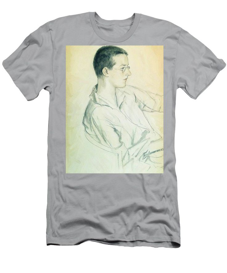 Portrait Men's T-Shirt (Athletic Fit) featuring the painting Portrait Of Composer Dmitri Shostakovich In Adolescence 1923 by Kustodiev Boris